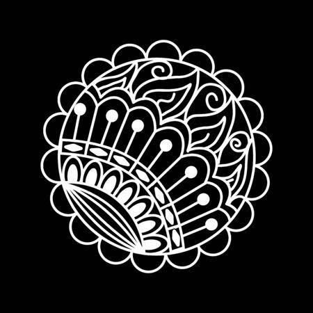 Mandala round ornament tribal ethnic pattern, islamic arabic indian motif, decorative element for card design. Mandala round ornament tribal ethnic pattern, islamic arabic indian motif, decorative element for card design. Abstract background.