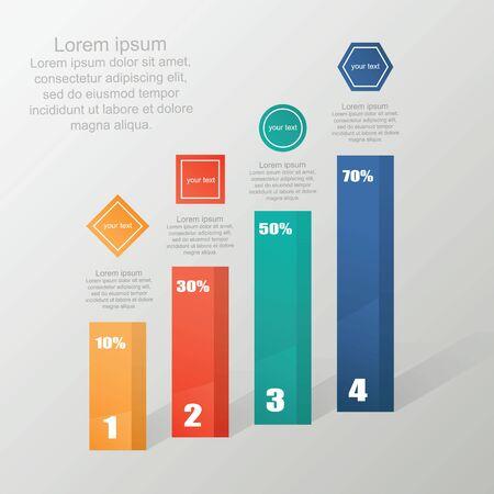Business flat, 3D design graph. Infographics charts. Ilustração