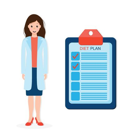Female nutritionist prescribing nutrition schedule isolated cartoon character on white background. vector illustration