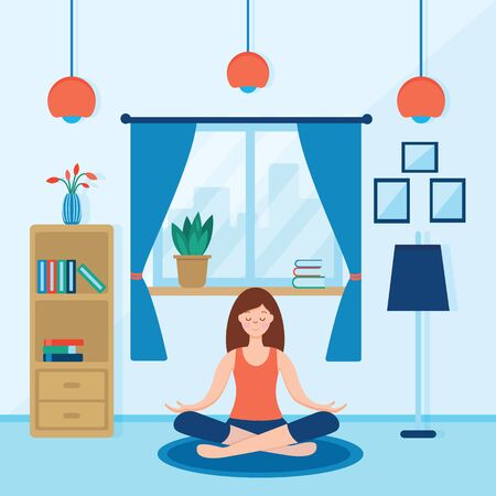 girl sitting cross-legged in her room or apartment