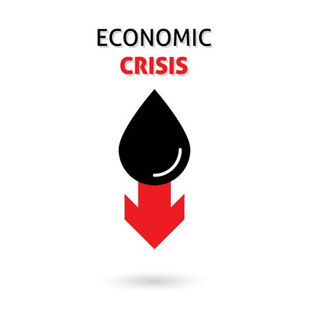 Oil with red zigzag falling trend of barrel price, decrease of earning and global economics, crisis. vector illustration Illustration