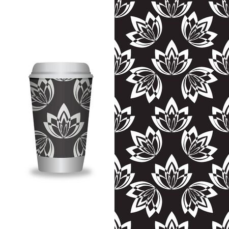 Vector take away coffee packaging templates and design elements for coffee shops - cardboard cup with seamless patterns. Vector illustration Ilustracja