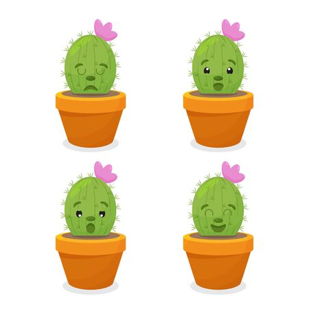 set of illustrations of cute cartoon cactus with funny faces in pots and with plants. can be used for cards Ilustrace