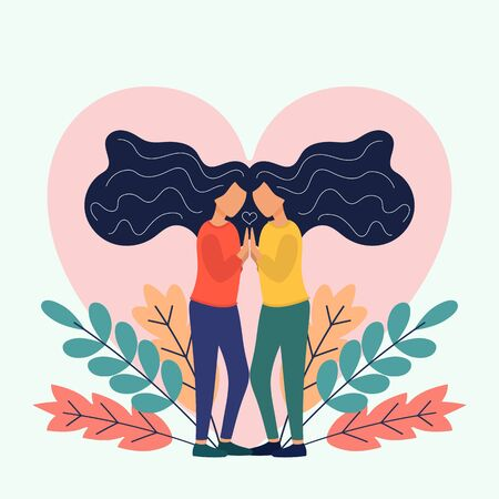 Two Sisters. flat vector illustrations of two happy twins loving and supporting each other. Çizim