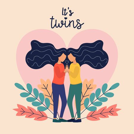 Two Sisters. flat vector illustrations of two happy twins loving and supporting each other. Family, sisterhood, twins Çizim