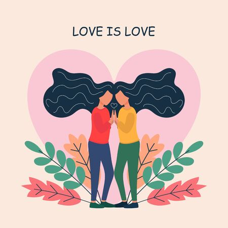 Lesbian couple. adorable young women flirting with each other.  romantic partners on date. Concept of love, passion and homosexuality. Modern flat colorful vector illustration. Vector illustration