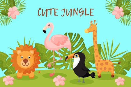 Cute postcard with animals and tropical leaves. Lion, Flamingo, Toucan and giraffe. Illustration