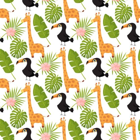 Giraffes, toucans and palm leaves seamless pattern. Jungle animals with tropical plants print.