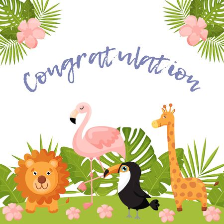Cute postcard with animals and tropical leaves. Lion, Flamingo, Toucan and giraffe. Ilustracje wektorowe