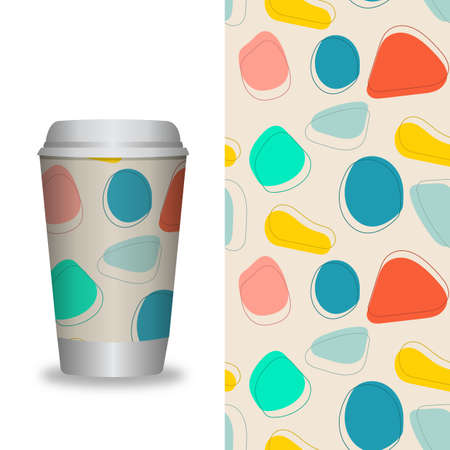 Vector Illustration. Coffee Cup With Patterns Template