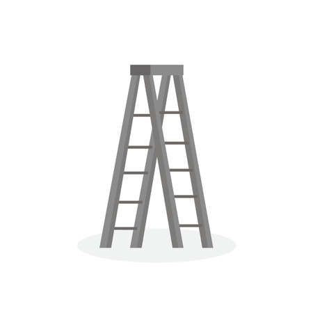 aluminum five step folding ladder with standing platform stool isolated on white background. vector illustration