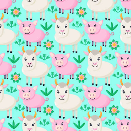 Farm animals seamless pattern. Collection of cartoon cute baby animals. goat, pig. Flat vector illustration isolated.