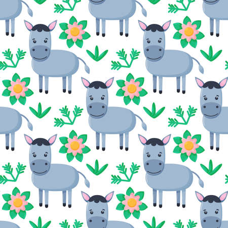 Seamless pattern with little donkey. Kids cute textile print.