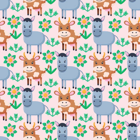 Farm animals seamless pattern. Collection of cartoon cute baby animals. Cow, donkey. Flat vector illustration isolated.
