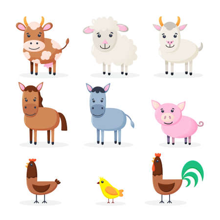 Farm animals set isolated Cute cartoon animals collection: sheep, goat, cow, donkey, horse, pig, chicken, rooster, chick