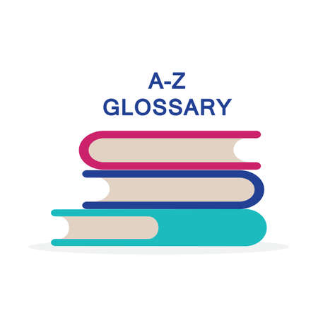 Concept A-Z glossary book for web page, banner, social media.