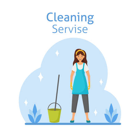 Vector cartoon style illustration of cleaning service woman character. Housekeeping icons. Isolated on white background.