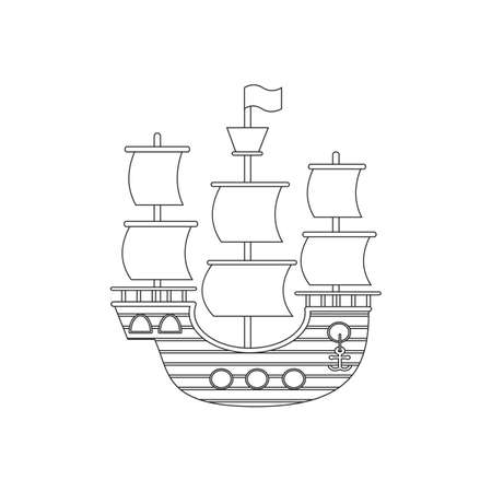 sketch of a sailboat, ship, coloring book, isolated object on a white background