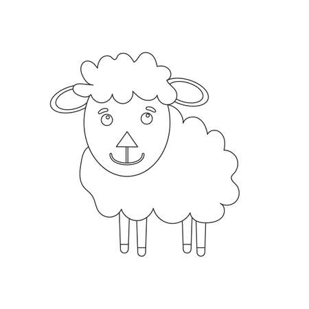 Black and White Cartoon Illustration of Funny Sheep Farm Animal Comic Character Coloring Book Page 矢量图像