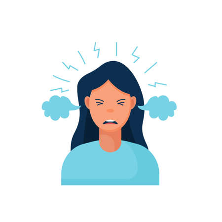 Work burnout. Tired female worker sitting at the table. Long working day in the office. Mental health problem. ... Vector illustration