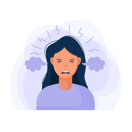 Work burnout. Tired female worker sitting at the table. Long working day in the office. Mental health problem. Flat vector illustration. Vector illustration