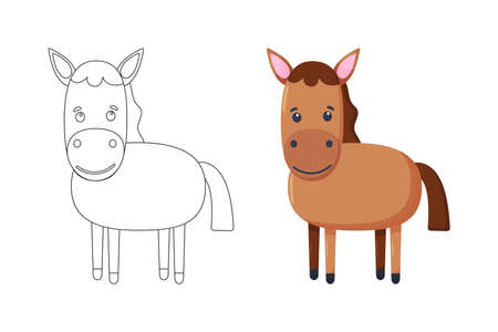 Cute vector horse. Vector cartoon pony. Vector illustration for children. Coloring book. Vector illustration