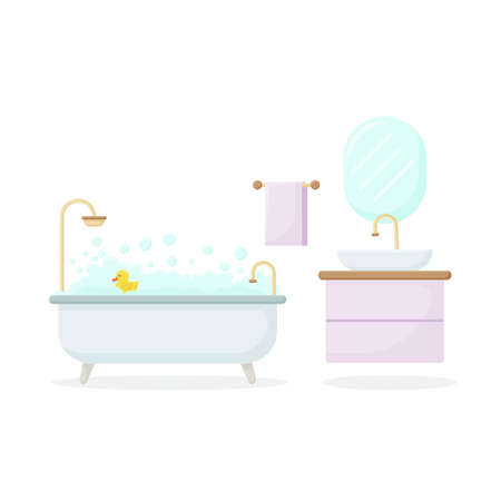 Vector interior illustration in flat style. Bathroom with furniture. Bathroom interior. Vector Illustratie