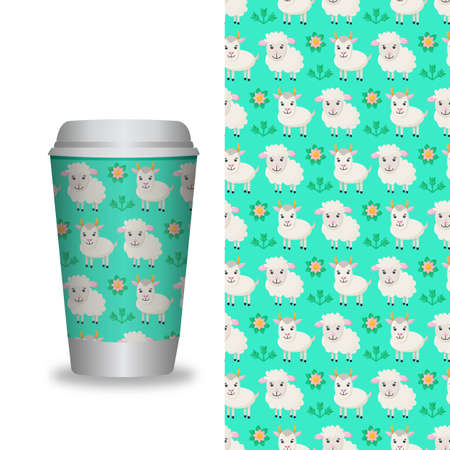Coffee Cup With Patterns Template. Vector Illustration.