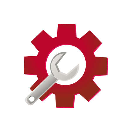Tools icon. Gear and wrench. Wrench and gear vector icon isolated on white batskground Stock Illustratie