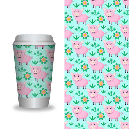 Coffee Cup With Patterns Template.