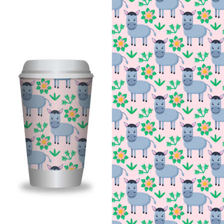 Coffee Cup With Patterns Template. Vector illustration 矢量图像