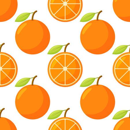 Orange fruit pattern. Sweet beautiful citrus seamless background with yellow juicy oranges