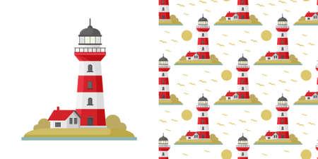 Vector cartoon flat lighthouse. Searchlight tower for maritime navigational guidance. Vector sea pattern with lighthouse Vecteurs