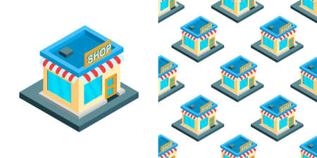 City isometric seamless pattern of the house, repetitive background. Vector illustration