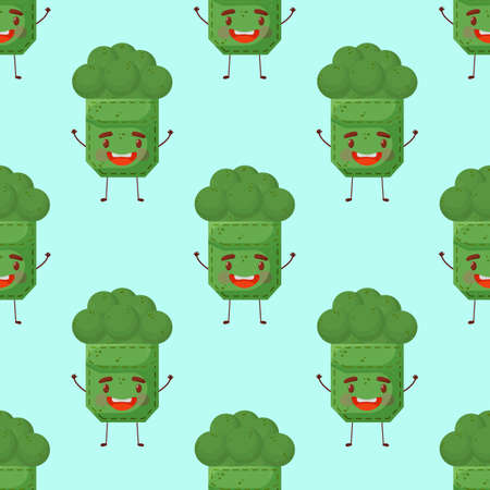 Seamless pattern broccoli shaped patch pocket. Character pocket broccoli. Cartoon style. Design element. Template for your shirts, books, stickers, cards, posters. Vector illustration