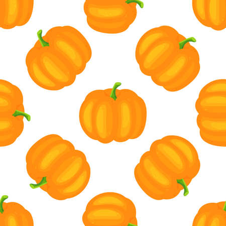 Hand drawn seamless pattern with pumpkins on background. Cute autumn vector texture.
