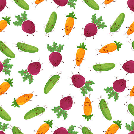 Seamless happy vegetables character food fun illustration background pattern in vector