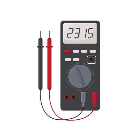 Digital multimeter. flat design concept, Electrical measuring instrument voltage amperage ohmmeter power Vector Illustration