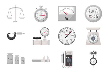 Measurement tools and instruments. Metrology equipment. Color vector icon