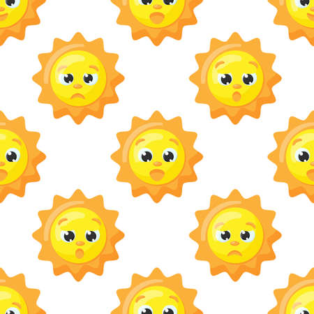 Cute vector pattern of sun characters. Funny happy suns for kids fashion, baby showers and birthdays. Vettoriali