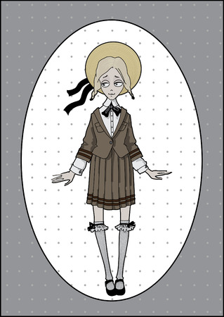 shyness: Modest girl in school uniform and straw hat standing and smiling Illustration
