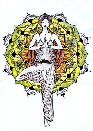 woman standing: Beautiful woman standing against a background of mandala in a pose Vrikshasana Stock Photo