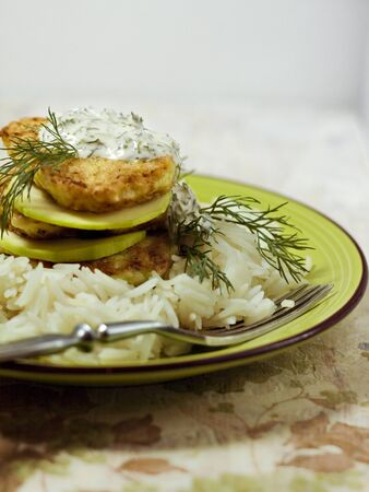 fritters: Fritters of zucchini with rice Stock Photo