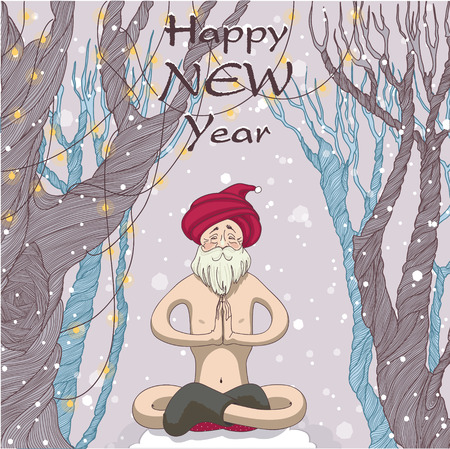 yogi: Santa yogi meditating in the forest and wishes everyone happiness Illustration