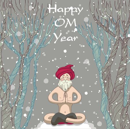 yogi: Santa yogi meditating in the forest and wishes everyone happiness. Happy OM year.