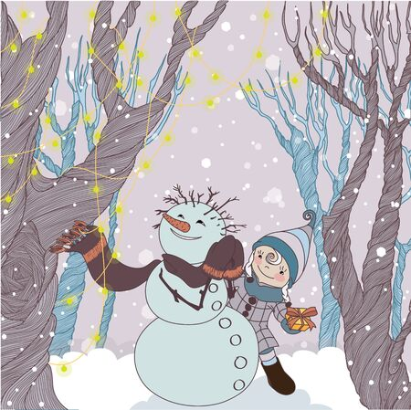 unexpected: Girl gives an unexpected Christmas gift Snowman in the winter forest Illustration