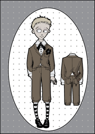 cunning: Shy boy in school uniform vintage slingshot hides behind his back and smiles enigmatically