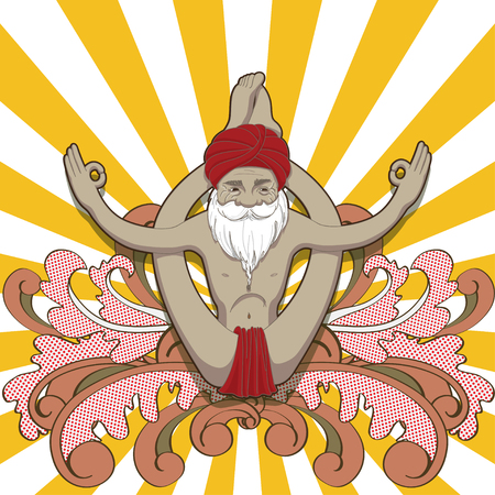 pada: Happy smiling old man make practice in a yoga pose Dwi Pada Sirsasana. Illustration