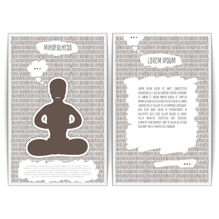 mindfulness: Mindfulness is in a yoga pose Padmasana. Vector illustration of cards for design and place for text. Yogi meditating on hatching monochrome background. Front and back. Illustration