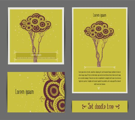 marsh: Vector set of invitation cards with doodle tree. Design invitation templates. Vector illustration in marsh and brown color in eco stile.